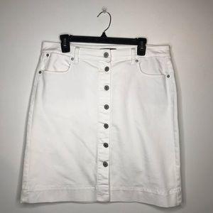 Talbots White Jean Button Down Skirt Size 12